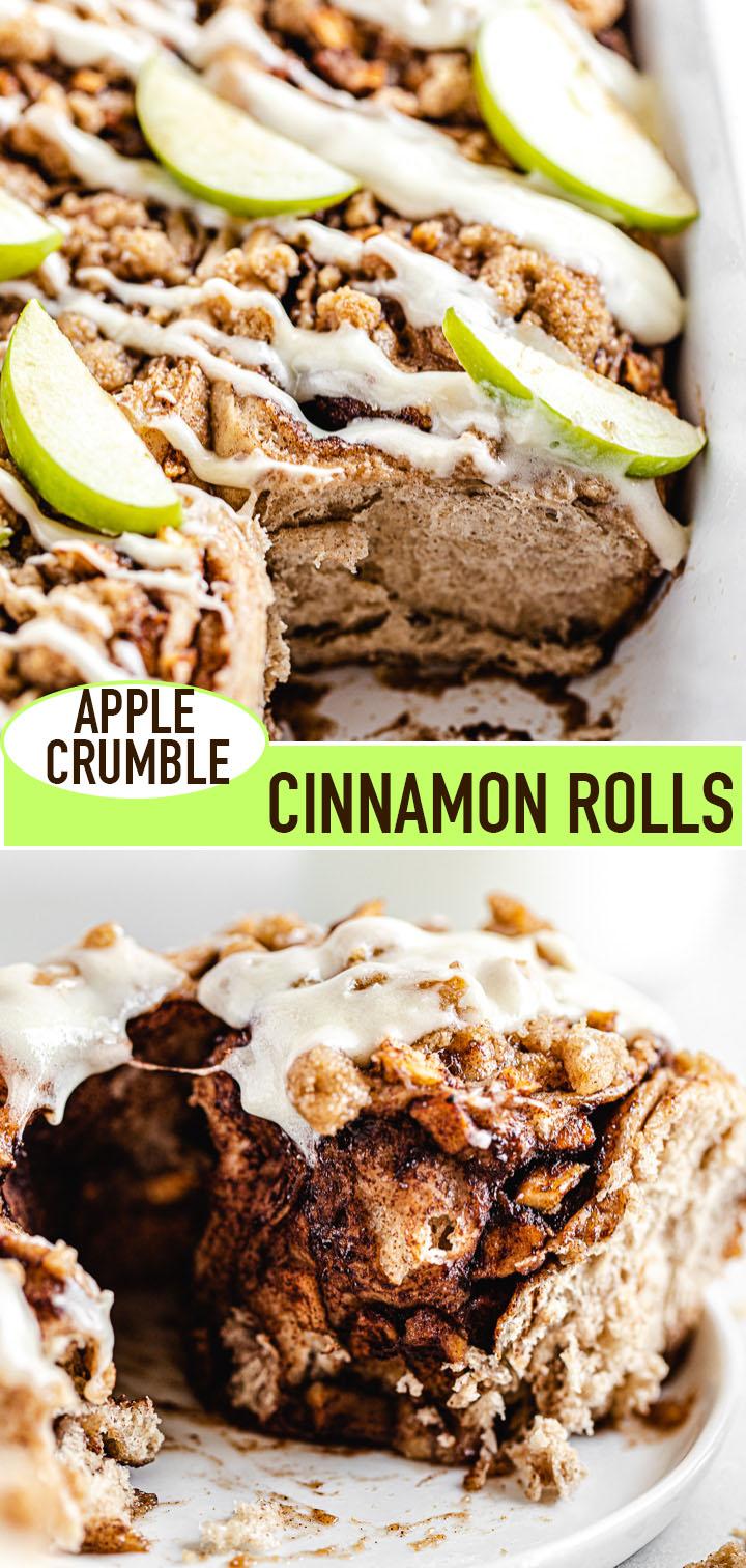 pin image for apple crumble cinnamon rolls