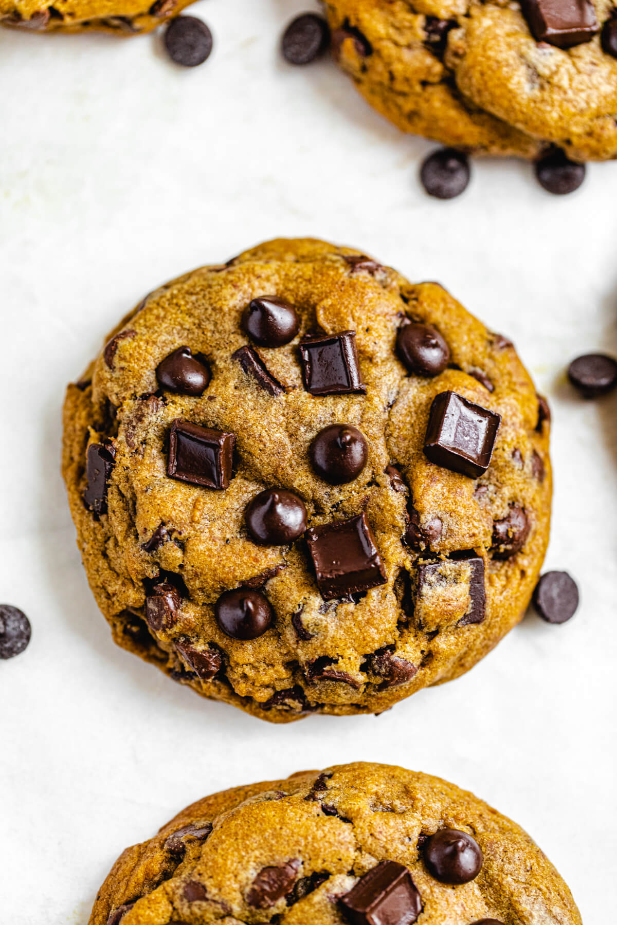 close up of a chocolate chip cookie