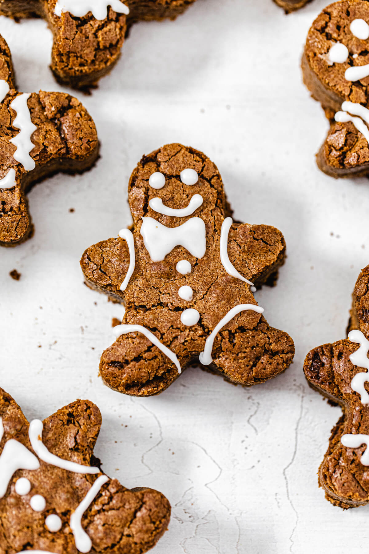 close up of decorated gingerbread man