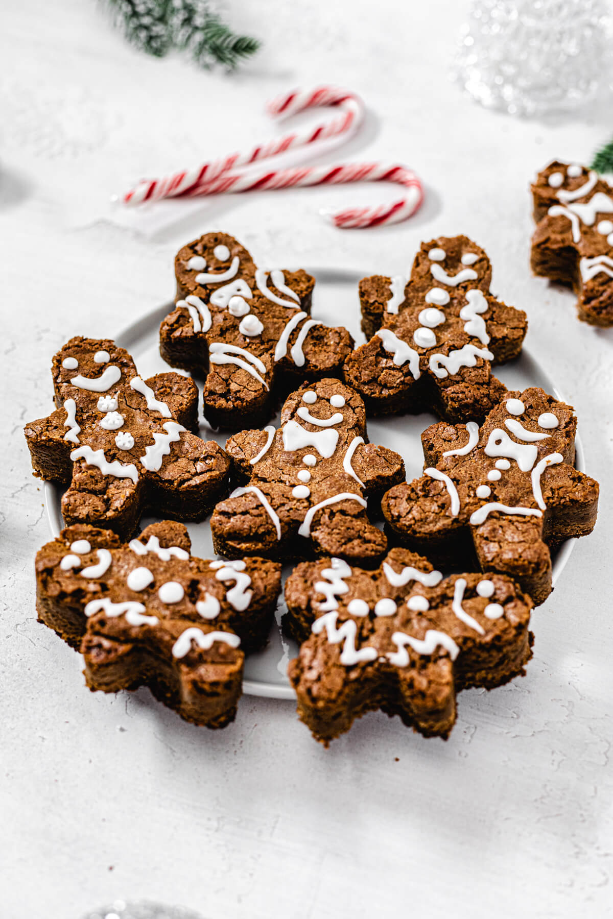 gingerbread men on a white plate