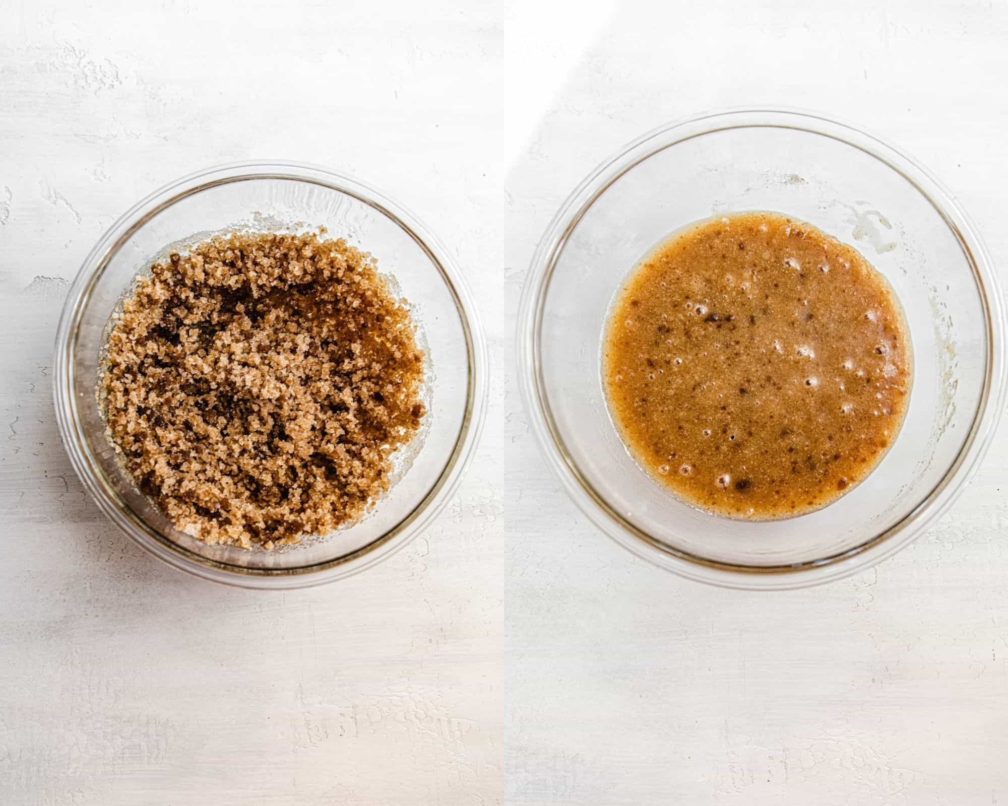 two photos showing the preparation of carrot cake