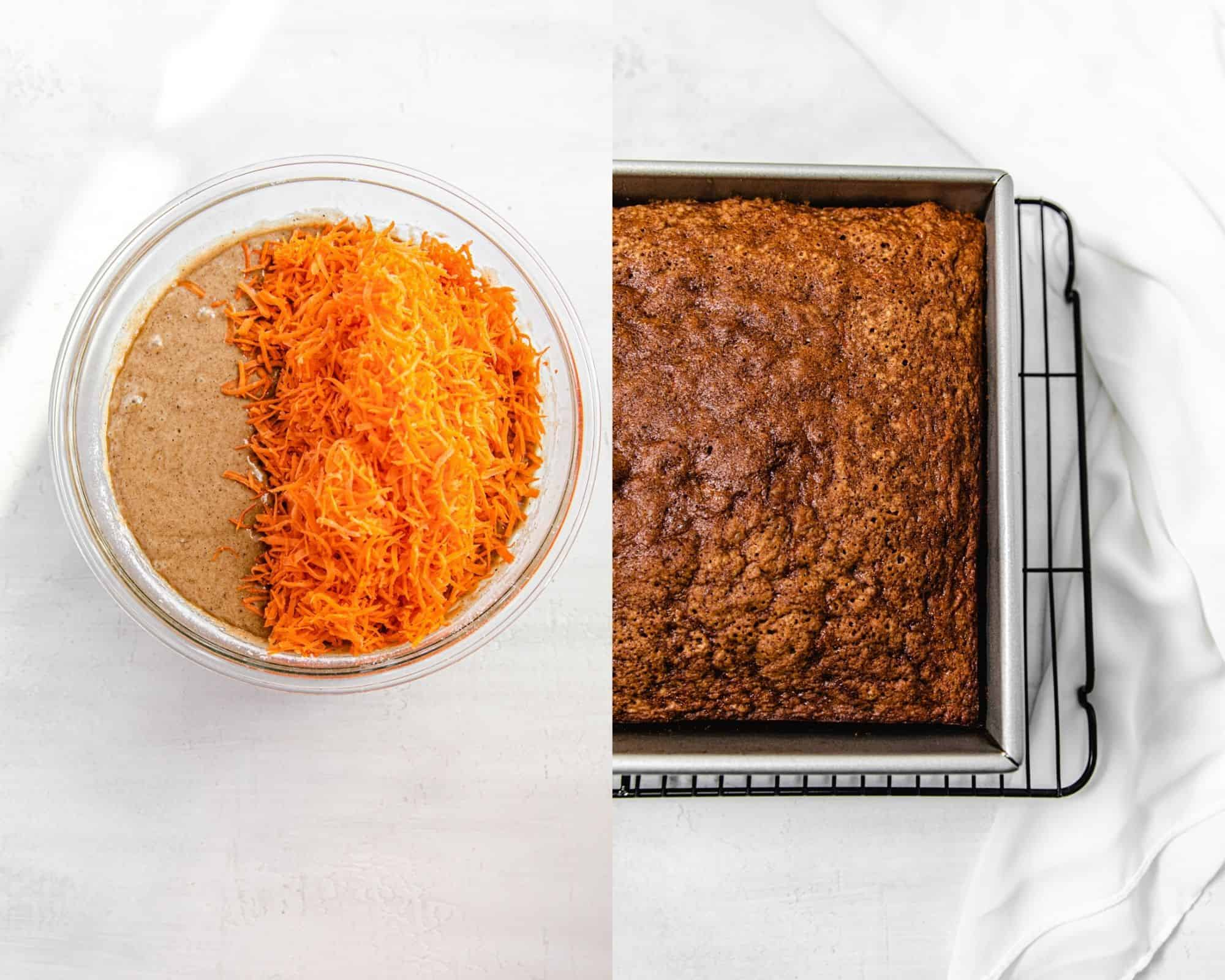 shredded carrots in bowl of cake batter and baked cake in a pan on the right