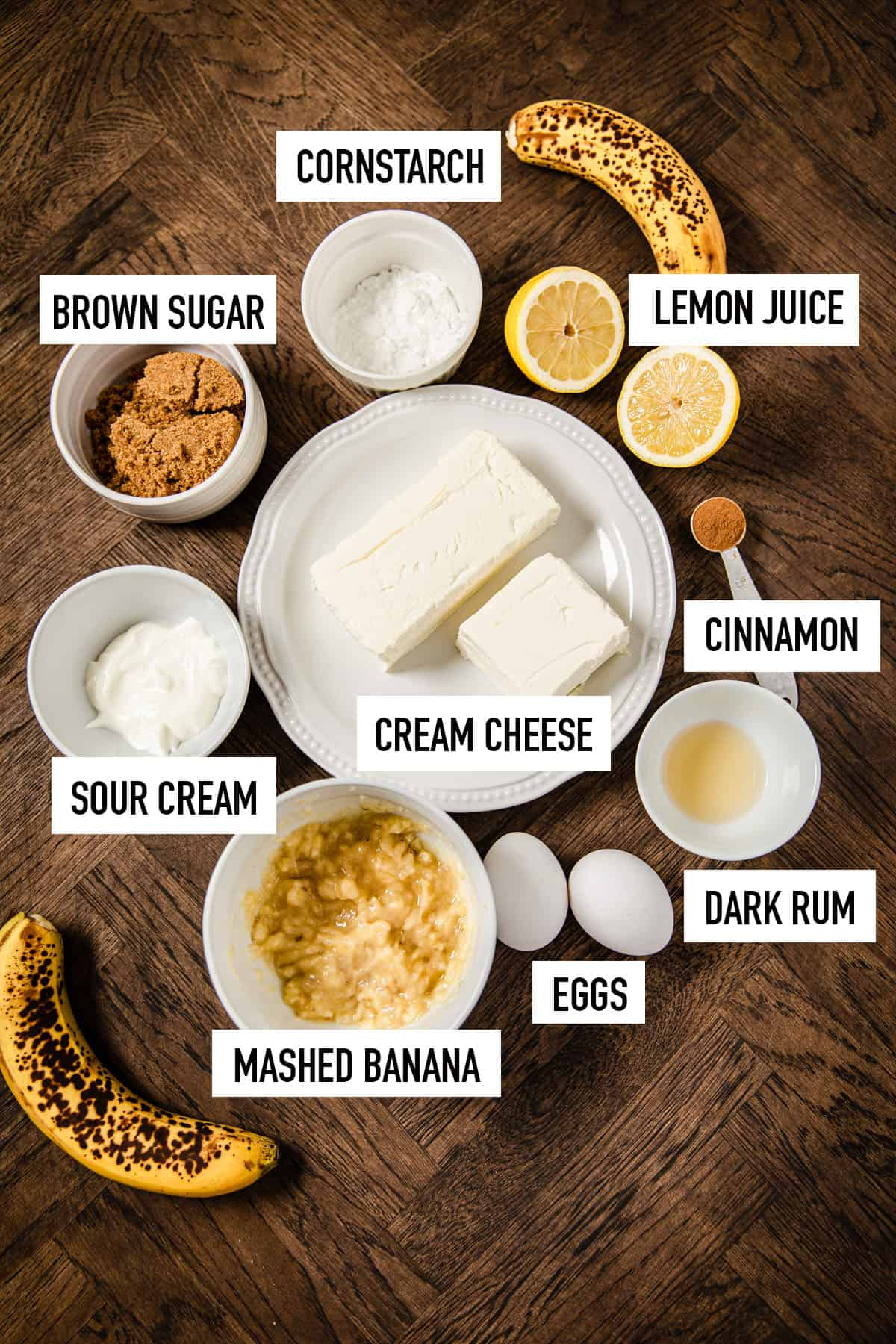 ingredients for banana cheesecake