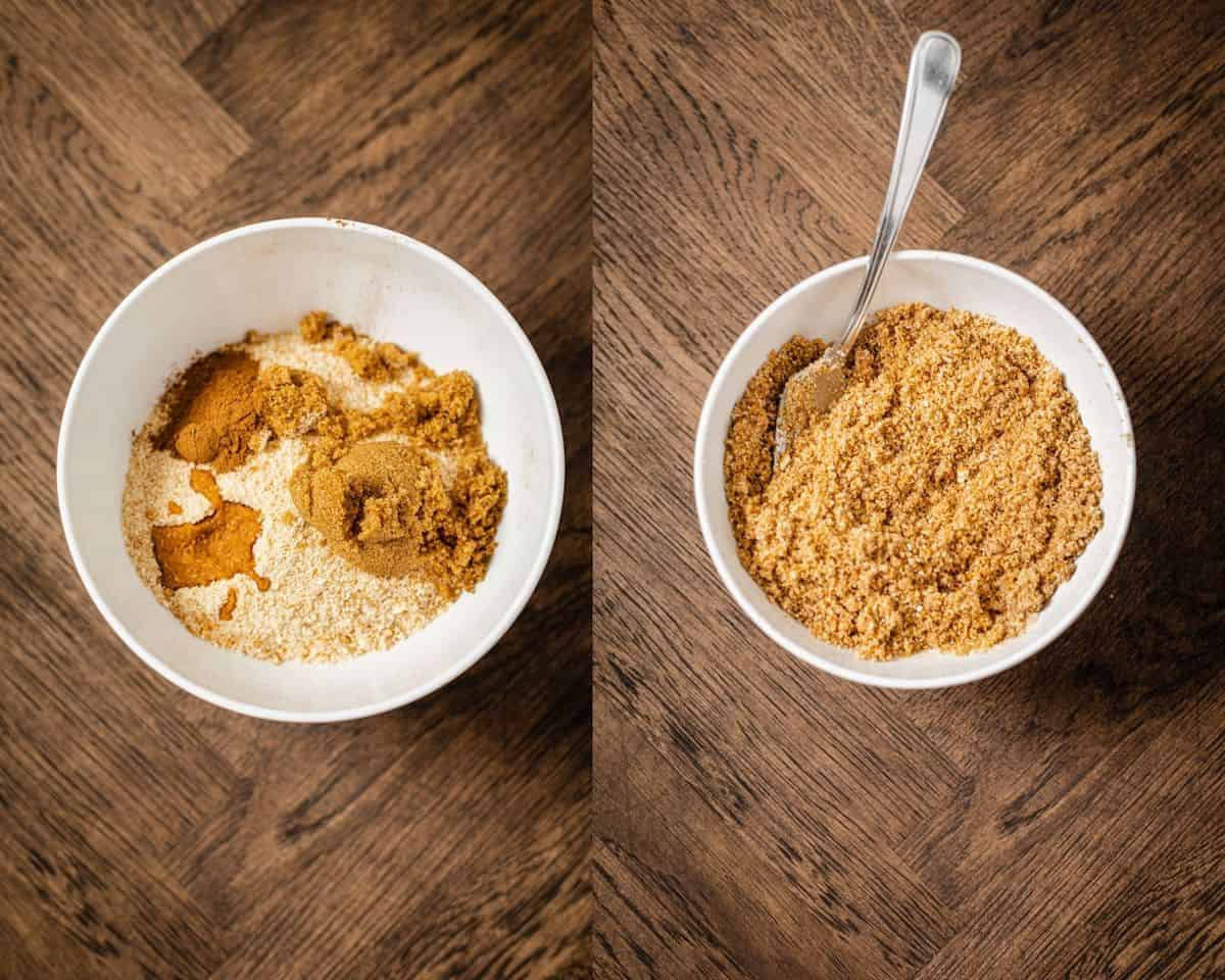 two photo collage of vanilla wafer crust ingredients before and after being mixed together